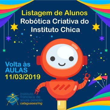 Listagem de Alunos da Robótica Criativa no Instituto Chica